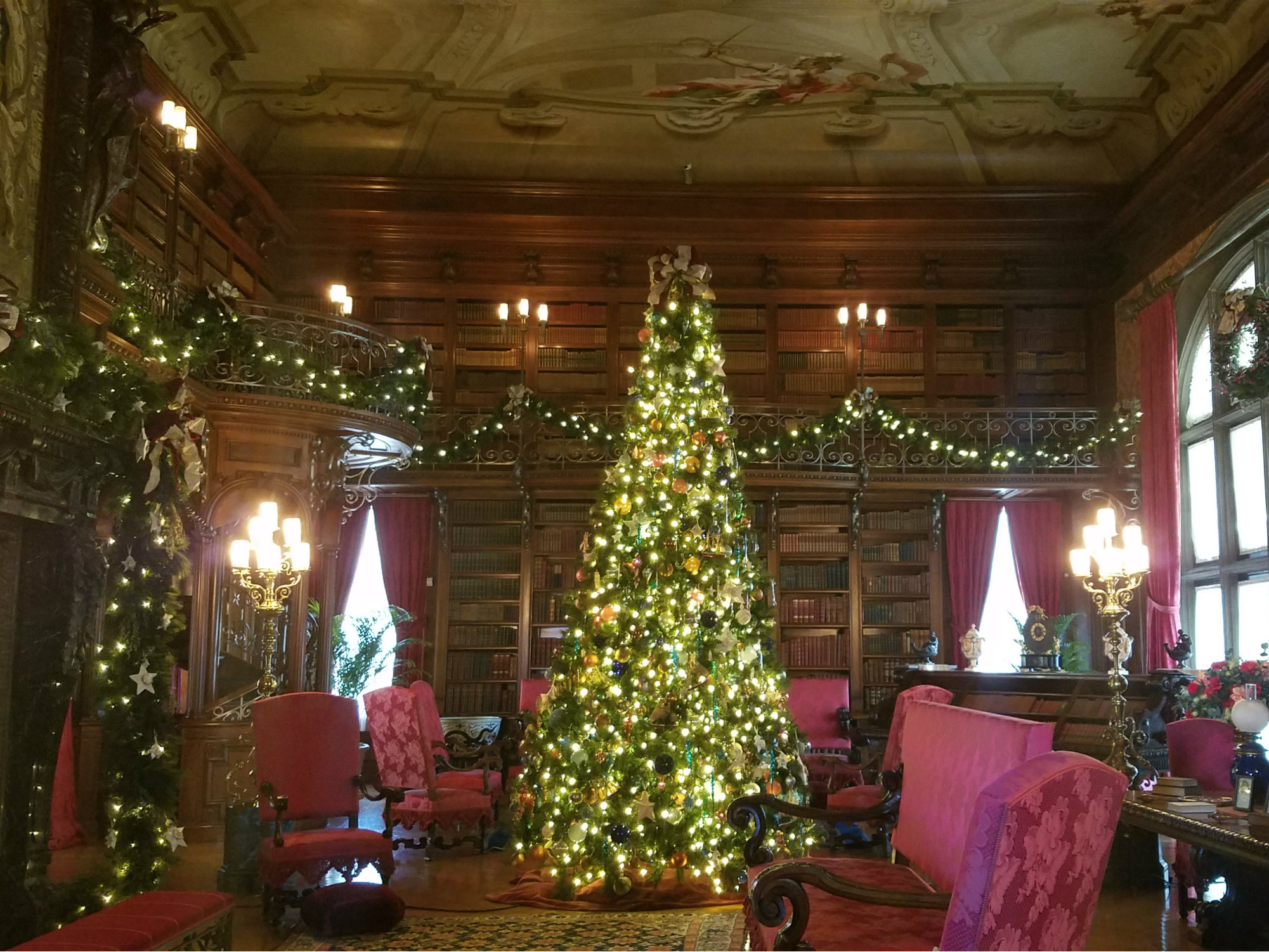 Two story library with shelves full of books, painted ceiling and very tall Christmas tree