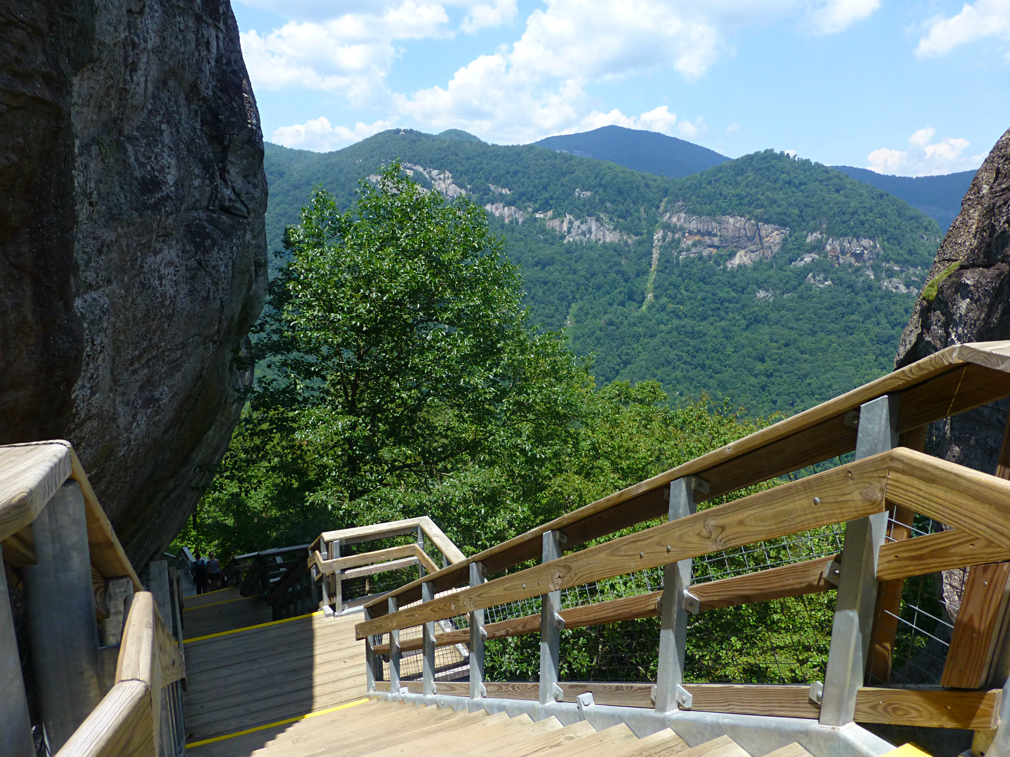 View from wooden stairway across a mountainous tree-filled landscape