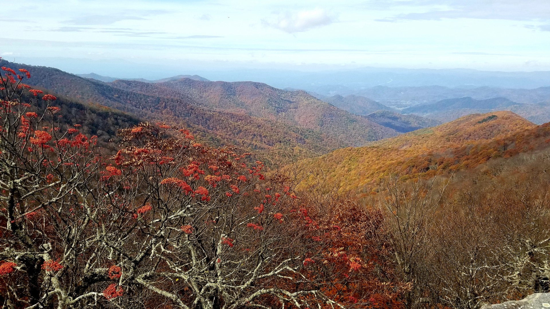 views of several mountain ranges in the fall