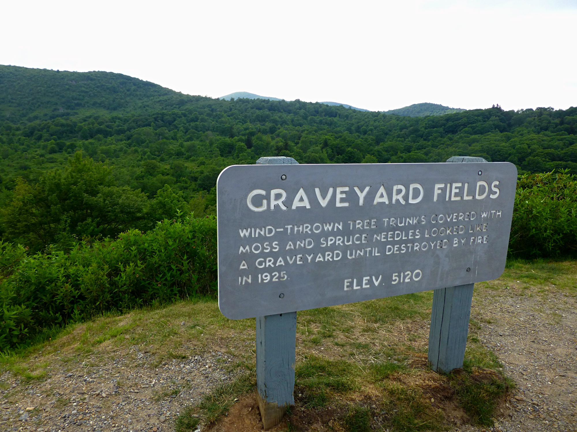 Graveyard Fields Overlook Sign June 2016