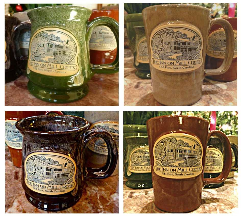 Photo of four pottery mugs in different colors with a logo that says The Inn on Mill Creek