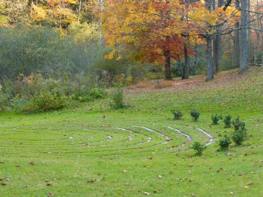 grass walking labyrinth with path edged in stone surrounded by short shrubs and tall trees
