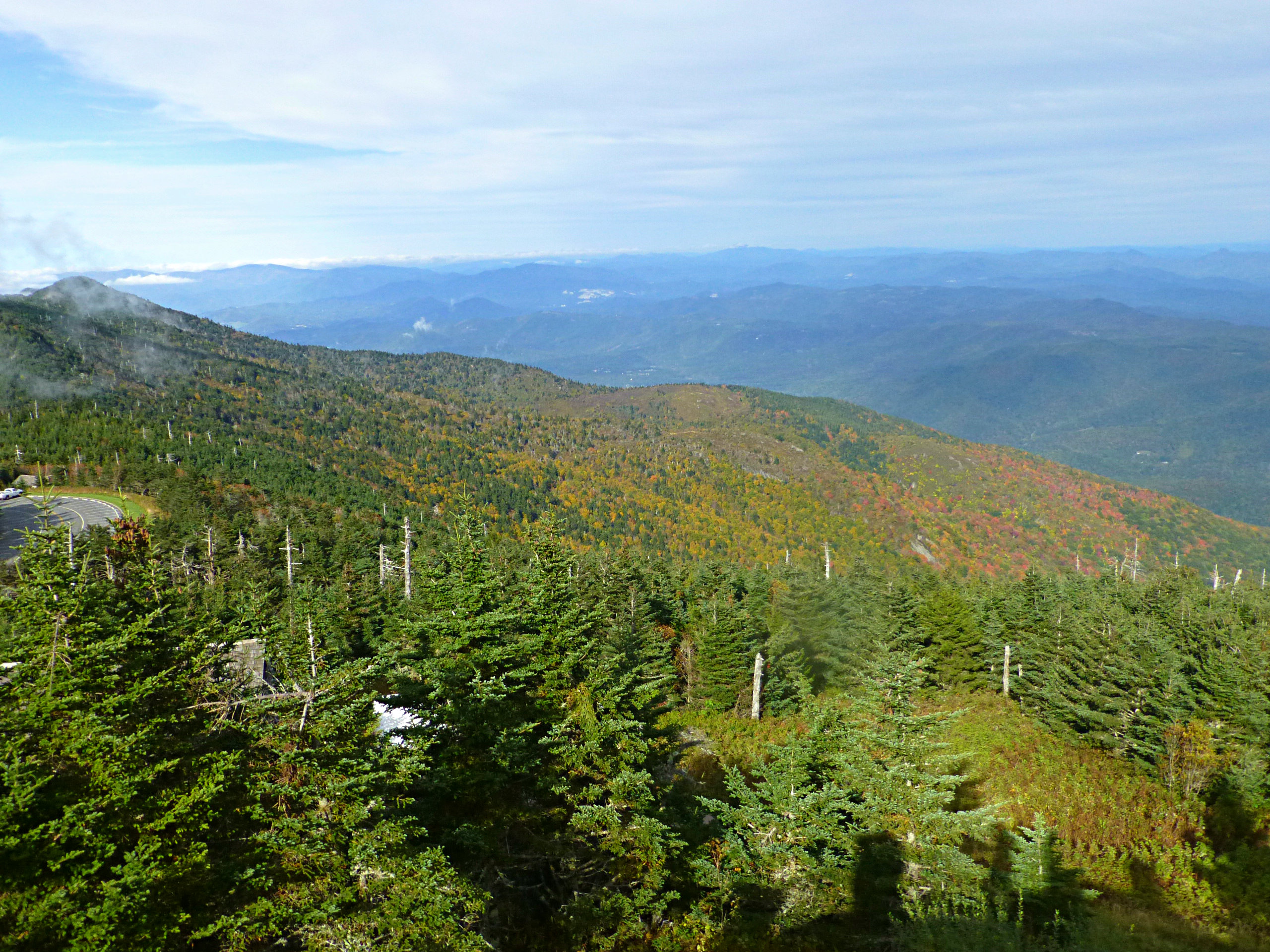 Expansive mountain view showing fall color