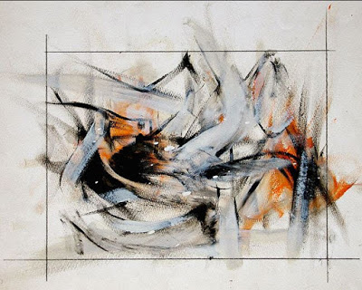 Abstract artwork using black, gray and orange brush strokes