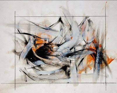 Abstract artwork using black, gray and orange brush strokes