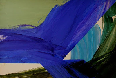 Abstract painting with shades of blue and green