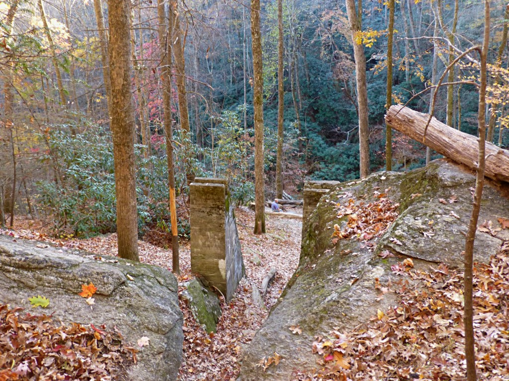 Stone ruins of an old waterwheel fram in the middle of the woods