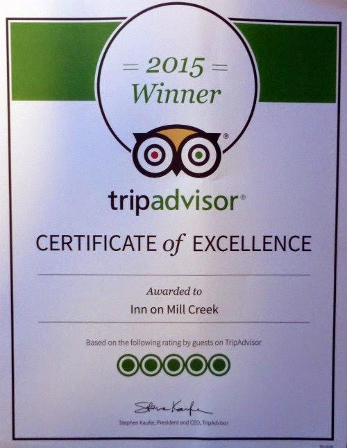 Certificate that says 2015 Winner of TripAdvisor Certificate of Excellence awarded to Inn on Mill Creek