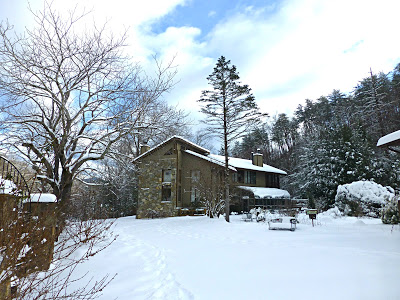 Snow covered landscape with lodge style B&B in the background
