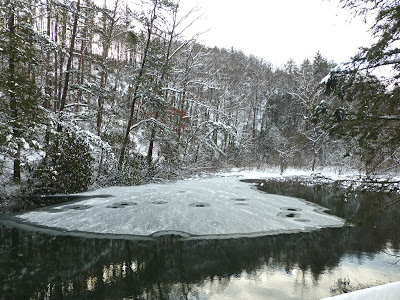 Pond in the woods starting to be covered with ice and snow