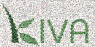 Mosaic of Kiva logo made from many people's photos
