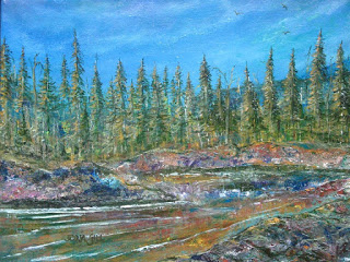 Painting of tall pine trees along a stream under a blue sky with wispy clouds