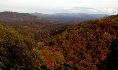 Mountain vista with beautiful fall foliage