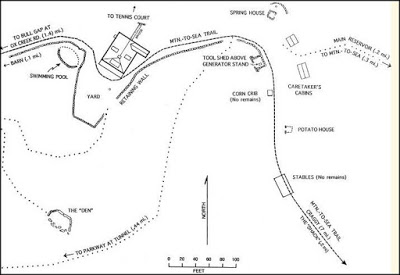 Map of hiking trail showing ruins of an old lodge
