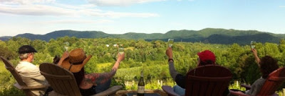 Small group of people making a toast as they view mountains in the distance